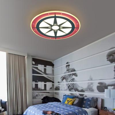 Cartoon Compass Shape Flush Mount Light White/Warm Lighting/Stepless Dimming Ceiling Light for Boy Bedroom
