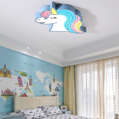 Child Bedroom Flush Mount Light White Lighting/Stepless Dimming Unicorn Shape Ceiling Light in Pink/Blue