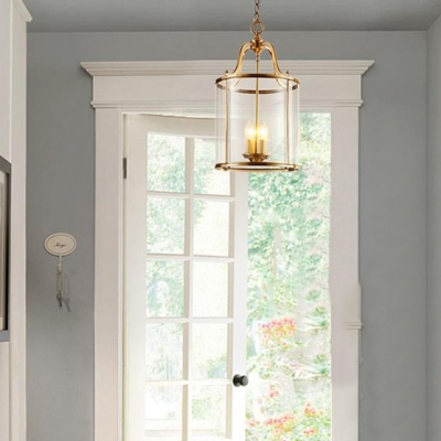 Clear Glass Metal Chandelier with Drum Shade Dinging Room 3 Lights Antique Style Suspension Light