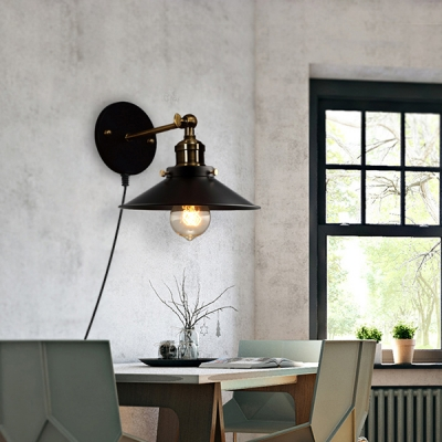 Cone Shade Dining Room Sconce Light Metal 1 Antique Style Plug