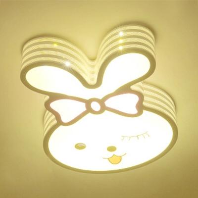 Creative Rabbit/Rainbow Shape Light Fixture Acrylic Warm Lighting/Stepless Dimming Ceiling Mount Light for Boy Girl Room