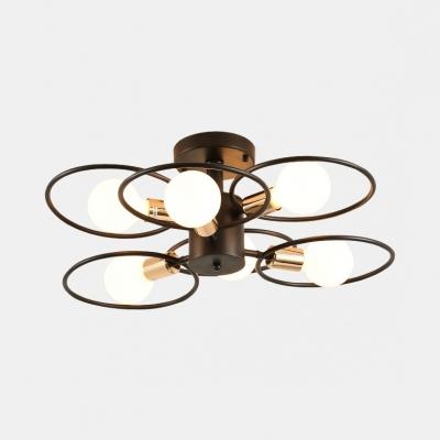 Creative Ring Semi Flush Light Metal 3/6/9 Lights Black Ceiling Lamp for Living Room