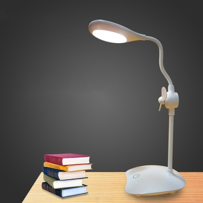 Dimable Foldable LED Desk Lamp with Small Fan USB Charging Port Study Light with Touch Sensor for Bedroom
