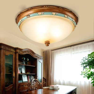 Dining Room Dome Ceiling Lamp Frosted Glass 3 Lights Vintage Style Flush Mount Light