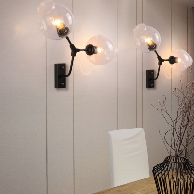Dining Room Hallway Wall Lamp Clear Open Glass and Metal 2 Lights Industrial Black Wall Light