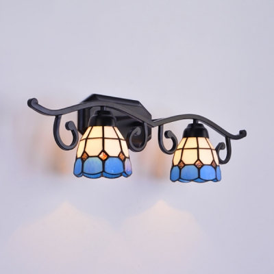 Dome Shade Wall Lamp 2 Lights Mediterranean Style Stained Glass Sconce Light for Living Room