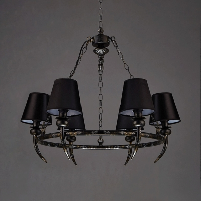Flared Chandelier Lamp Living Room 6 Lights Vintage Metal Hanging Lamp in Black