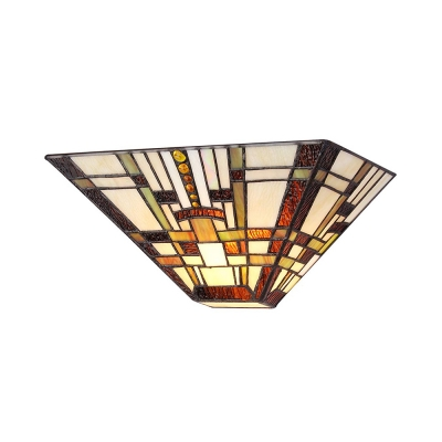 Vintage Up Lighting Wall Lamp Glass Colorful Tiffany Style Sconce Light for Shop Bar Foyer