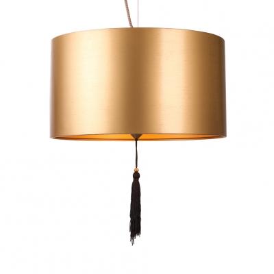 Living Room Bedroom Drum Chandelier Metal 2 Lights Antique Style Gold Suspension Light