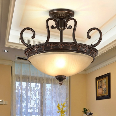 Metal Frosted Glass Semi Flush Mount Light with White Cone Shade Living Room Bedroom Vintage Style Light Fixture