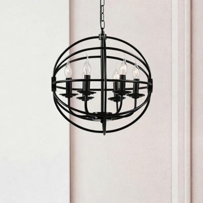 Metal Globe Shape Chandelier Living Room 6 Lights Classic Ceiling Light in Black for Dining Room Foyer