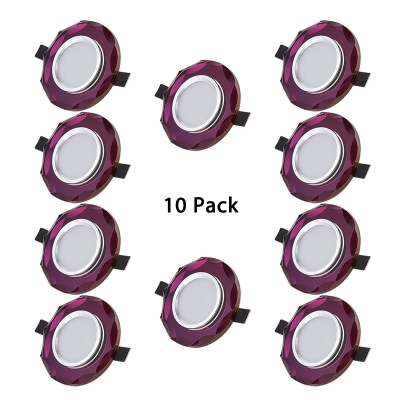 (10 Pack)Purple/Brown/Green Crystal Recessed Light 2-3 Inch Circle Elegant LED Ceiling Light Recessed for Hotel