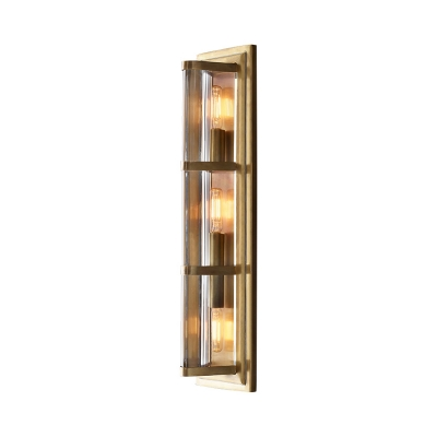 Rectangle Lamp Body Bedroom Wall Lamp Metal and Glass 2/3/4 Lights Modern Sconce Light in Black/Gold