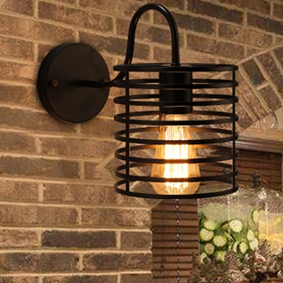 Retro Style Cylinder Wall Light for Corridor Cage Shade 1-Light Sconce in Black , 6