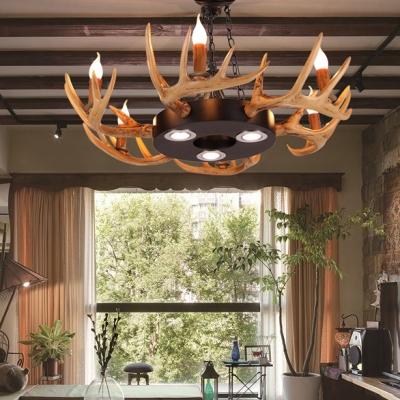 Round Living Room Hanging Light with Deer Horn Decoration Resin 6 Lights Vintage Style Chandelier