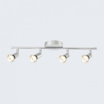 Silver Black High Brightness Track Lighting 4 Lights Metal