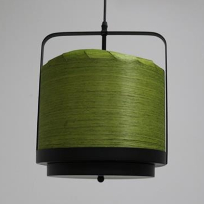 White/Green/Red Cylinder Ceiling Lighting One Light Vintage Style Wood Hanging Light for Kitchen