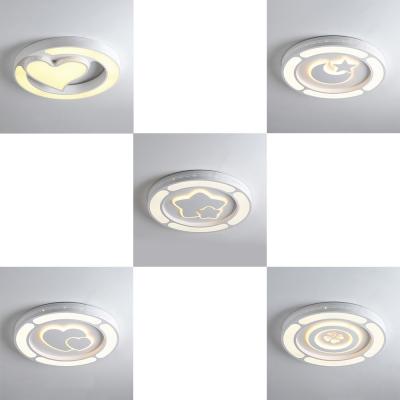 White Round Shape Flush Mount Light with Lovely Shape White Lighting LED Ceiling Light for Boy Girl Bedroom