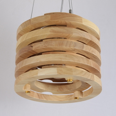 Wood Cylinder Shade Hanging Fixture One Light Antique Style Pendant Ceiling Lamp