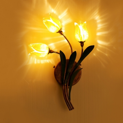 2/3/5 Lights Bloom Shape Wall Lamp Decorative Yellow Glass Metal Wall Light for Living Room Restaurant
