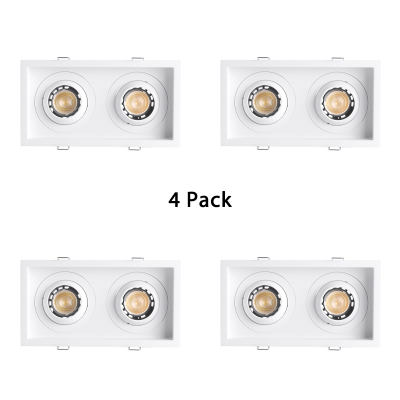 (4 Pack)2 Optional Modes Rectangle Recessed Light Wireless Aluminum Ceiling Light Recessed in White/Warm White