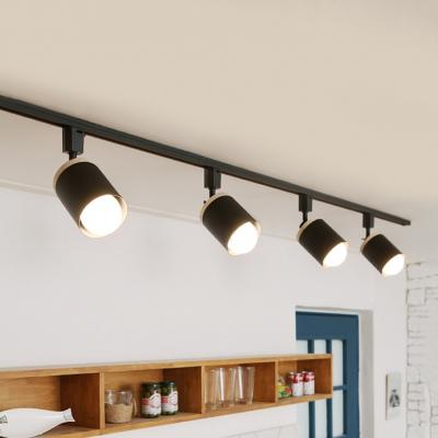 4 Lights Cylinder Track Lighting Modern Metal Led Ceiling Lamp In