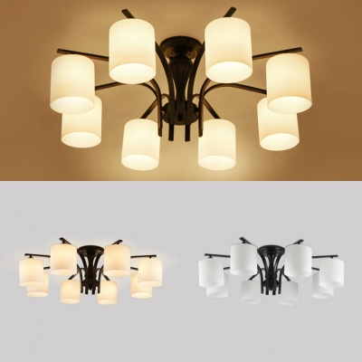 Cylinder Shade Semi Flush Mount Light 8 Lights Modern Metal and Frosted Glass Light Fixture in Black/Gold for Foyer Shop