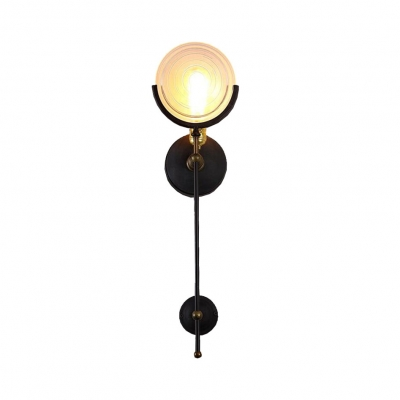 American Vintage Black Wall Sconce With Round Shape Single Light Metal
