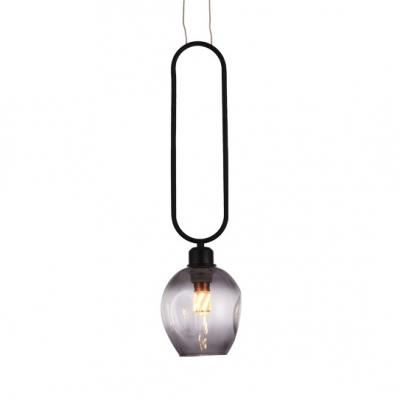 Antique Black/Gold Pendant Lighting Single Light Open Glass Hanging Light for Kitchen, HL516196