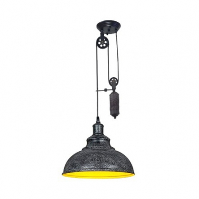 Antique Style Dome Shape Pendant with Pulley 1 Light Metal Hanging Light for Dining Room Kitchen