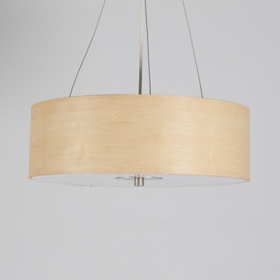 Bamboo Drum Shade Ceiling Fixture One Light Modern Style Pendant