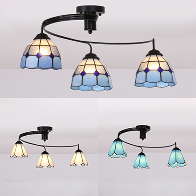 Bedroom Conical Semi Flushmount Ceiling Rustic Style Clear/White/Blue Glass Ceiling Lamp for Restaurant