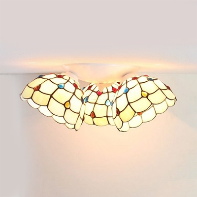 Bell Shape Ceiling Mounted Light 3 Lights Tiffany Style Stained Glass Overhead Light for Bedroom