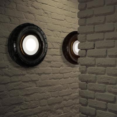 Black Tyre Wall Sconce Light One Light Industrial Plastic Wall Lighting for Restaurant