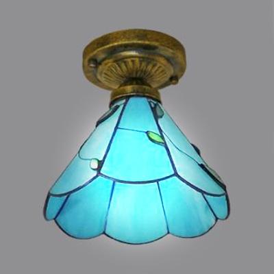 Blue Glass Leaf Ceiling Lamp Foyer 1 Light Tiffany Style Rustic Flush Light