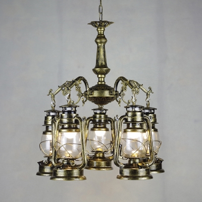 Bronze/Copper Kerosene Hanging Lamp 5 Lights Industrial Metal Chandelier for Foyer