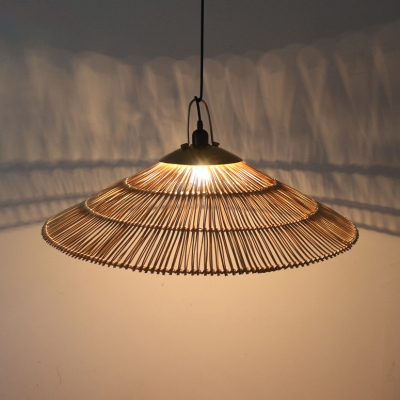 Brown Saucer Ceiling Lighting Single Light Rustic Style Pendant Light Fixture for Dining Room Living Room