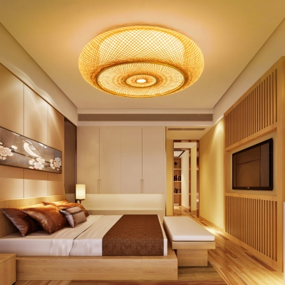 Drum Dinging Room Flush Mount Light Wood 2 Lights Vintage Style Ceiling Light Fixture in Beige