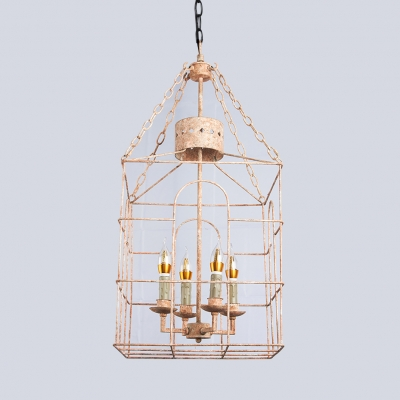 European Style Chandelier Light with Cage Shape 4 Lights Metal Hanging Light for Dining Room Hallway
