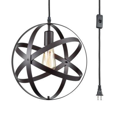 1 Light Globe Ceiling Metal Black Hanging With