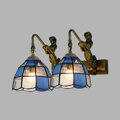 Mermaid Living Room Wall Light Blue/Clear Glass 2 Lights Antique Style Sconce Lamp