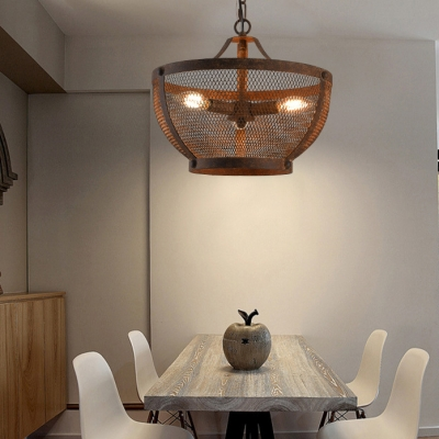 Metal Bowl Shape Pendant Lighting Restaurant Bar 1/3/5 Lights Vintage Style Chandelier in Rust