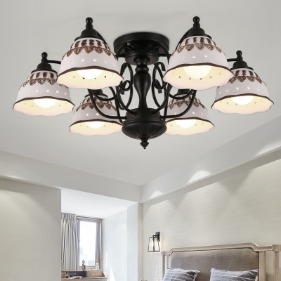 Metal Double Bubble Ceiling Light 3/6/8 Lights Antique Style Semi Flush Light for Hotel