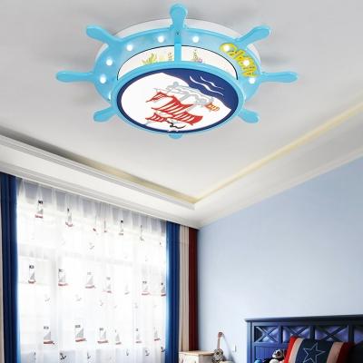 Pirate Ship Shape Flush Mount Light White/Warm Lighting/Stepless Dimming LED Ceiling Light for Boy Bedroom