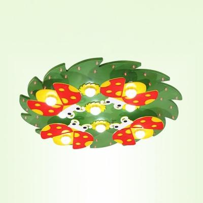 Remote Control Ladybug Pattern Ceiling Mount Light Green/Pink LED Flush Mount Light in White/Warm