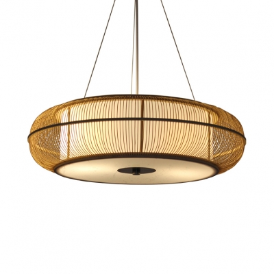 Rustic Style Round Pendant Chandelier Wood 3 Lights Wood/Black Hanging Lamp for Living Room