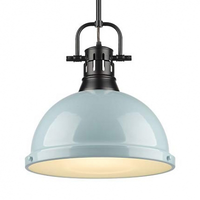 Seafoam Dome Pendant Light with Vented Socket 1 Light Modern Metal Hanging Light for Bedroom