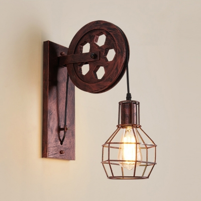 Single Light Wire Cage Wall Sconce Foyer Hallway Industrial Metal Sconce Light in Rust