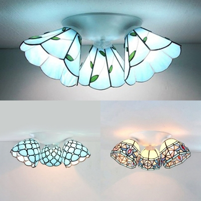 Stained Glass Dome Ceiling Lamp Living Room 3 Lights Magnolia/Leaf/Pearl Tiffany Style Flush Mount Light