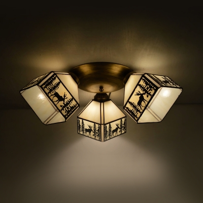 Stained Glass Flush Mounted Light Dining Room 3 Lights Tiffany Style Ceiling Light